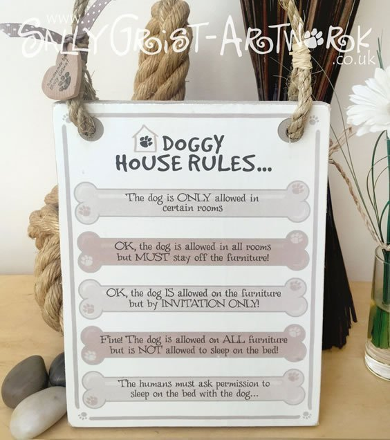 Doggy House Rules Funny Sign - Sally Grist Artwork