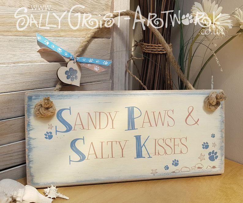 Dog lovers gift, beach hut sign,